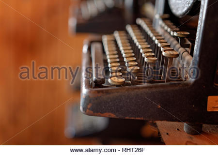 Close up of the well worn keys of a vintage typewriter - Stock Photo