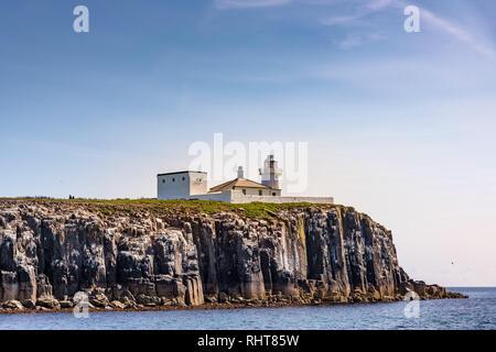 Lighthouse, Farne Islands, Northumberland, UK - Stock Photo