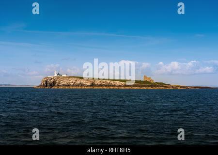Lighthouse & St Cuthbert's Chapel, Farne Islands, Northumberland, UK - Stock Photo
