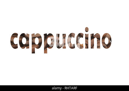 Close up picture with coffee beans and cut out word Cappuccino - Stock Photo