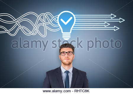 Idea solution concepts on visual screen - Stock Photo