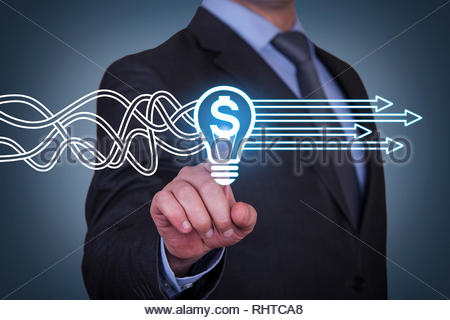 Innovative idea finance solution concept on touch screen - Stock Photo