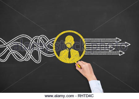 Human Resourses Solution Concepts on Blackboard Background - Stock Photo