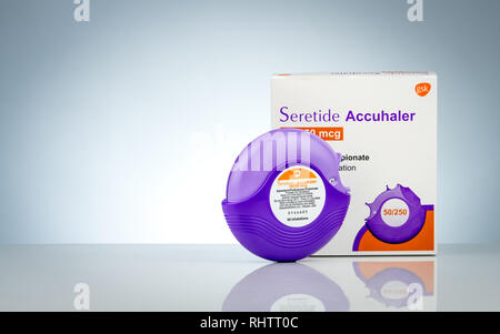 CHONBURI, THAILAND-NOVEMBER 28, 2018 : Seretide Accuhaler and packaging. Asthma accuhaler for treatment asthma. Bronchodilator and steroids drug for s - Stock Photo