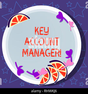Writing note showing Key Account Manager. Business photo showcasing full relationship between your business and customers Cutouts of Sliced Lime Wedge - Stock Photo