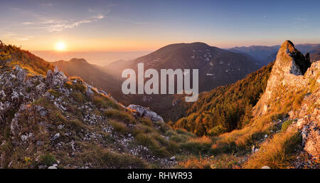 Landscape with mountain and sun - Stock Photo