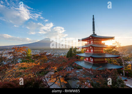 chureito and fuji at sunset. one of the most famous images of Japan