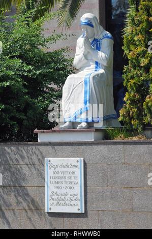 Statue of Saint (Mother) Teresa outside St Paul's Roman Catholic Cathedral. Tirana, Albania, Europe. - Stock Photo
