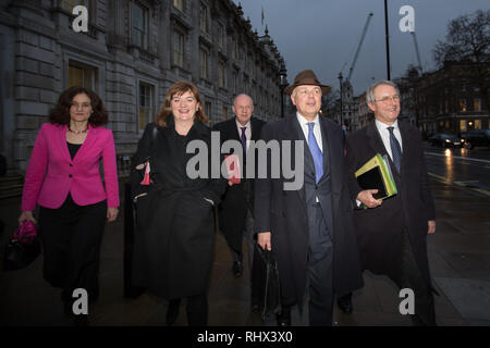 London, UK. 4th Feb, 2019. Nicky Morgan MP, Damian Green MP and Iain Duncan Smith MP leave the Cabinet Office after a meeting . Credit: George Cracknell Wright/Alamy Live News - Stock Photo