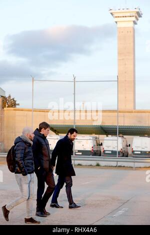 Speaker of the Catalan regional Parliament Roger Torrent (R) leaves the Soto del Real prison in Madrid, Spain, 04 February 2019 after visiting imprisoned Catalan leaders. A total of nine Catalan pro-independence suspects were moved to Madrid last week to attend their trial beginning on 12 February. EFE/ Juan Carlos Hidalgo - Stock Photo