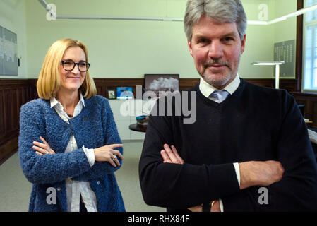 Berlin, Germany. 22nd Jan, 2019. Margarete Koppers (l-r), Attorney General of Berlin, and Sjors Kamstra, Attorney General, stand together in their office at the Berlin Attorney General's Office. (to dpa-Story - Clan Crime in Berlin from 05.02.2019) Credit: Gregor Fischer/dpa/Alamy Live News - Stock Photo
