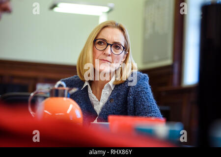 Berlin, Germany. 22nd Jan, 2019. Margarete Koppers, Attorney General of Berlin, sits at a meeting table in her office at the Berlin Attorney General's Office. (to dpa-Story - Clan Crime in Berlin from 05.02.2019) Credit: Gregor Fischer/dpa/Alamy Live News - Stock Photo