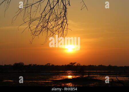 Reflection of Sun/Sunset In Bharatpur Bird Sanctuary/Keoladeo National Park - Stock Photo