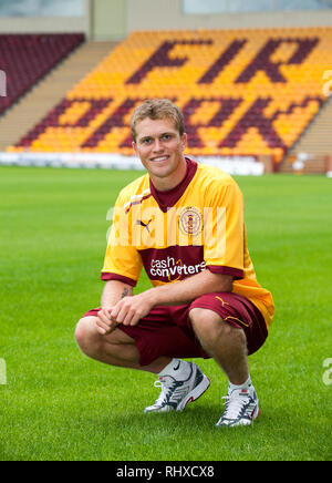 New Motherwell FC signing, Nicky Law is unveiled at Fir Park.  Lenny Warren / Warren Media  07860 830050 01355 229700 lenny@warrenmedia.co.uk www.warr - Stock Photo