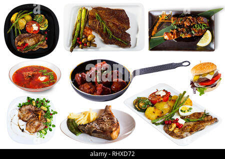 Collage of different plates of meat, pork and beef, on white background - Stock Photo