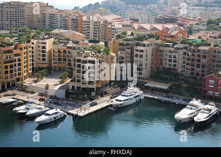 View of the principality of Monaco and the Mediterranean on the French Riviera - Stock Photo