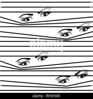 seamless pattern Woman hidden eyes looking through horizontal venetian blinds - Stock Photo