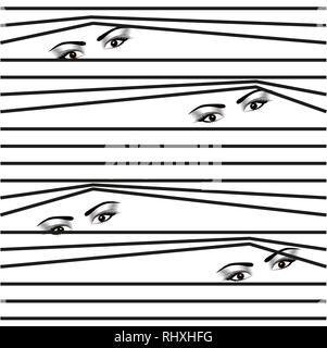 seamless pattern Woman hidden eyes looking through horizontal venetian blinds eps10 - Stock Photo
