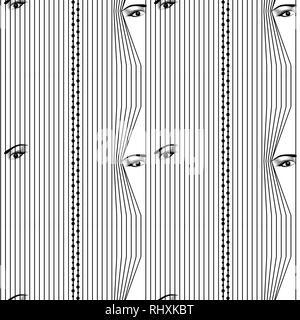 seamless pattern Woman hidden eyes looking through vertical venetian blinds eps 10 - Stock Photo