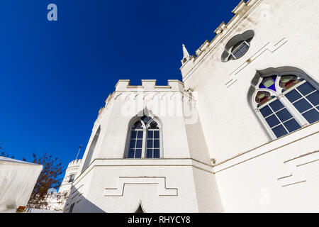 Architectural details and windows at Strawberry Hill House, a Gothic Revival villa built in Twickenham, London by Horace Walpole from 1749 - Stock Photo