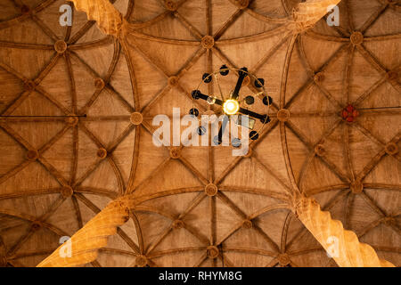 Decorative ceiling at the hall of Columns in the Silk Exchange Valencia Spain - Stock Photo
