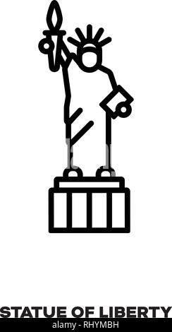 Statue of Liberty at New York, United States of America, vector line icon. International landmark and tourism symbol. - Stock Photo
