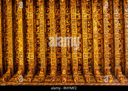 Highly decorative ceiling in the Consulate of the Sea (Consulado del Mar) Silk Exchange in Valencia Spain - Stock Photo