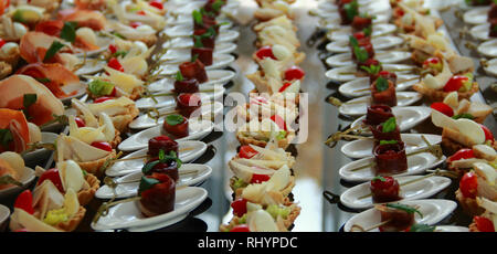 Side view of variety starters and appetizers setting for food reception - Stock Photo