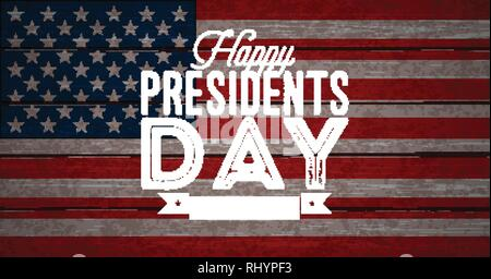 Happy Presidents Day of the USA Vector Illustration. Celebration Design with Flag and Typography Letter on Vintage Background for Banner, Greeting - Stock Photo