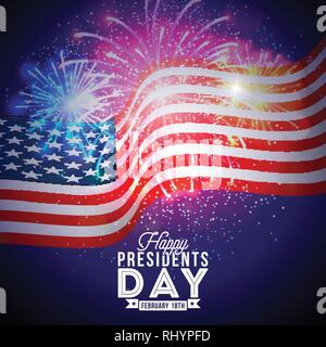 Happy Presidents Day of the USA Vector Illustration. Celebration Design with Flag and Typography Letter on Fireworks Background for Banner, Greeting - Stock Photo