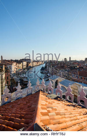 View of the Grand Canal from T Fondaca dei Tedeschi shopping centre rooftop terrace, Venice, Italy - Stock Photo