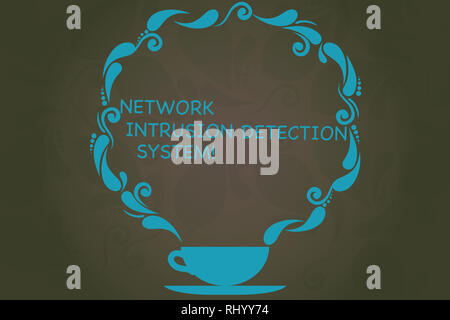 Writing note showing Network Intrusion Detection System. Business photo showcasing Safety security multimedia systems Cup and Saucer with Paisley Desi - Stock Photo