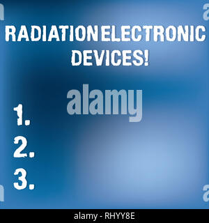 Text sign showing Radiation Electronic Devices. Conceptual photo radio frequency emitted by electronic devices Blurry Light Flashing Glaring on Blank  - Stock Photo