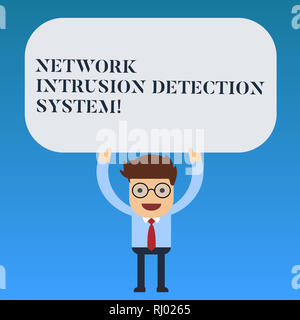 Writing note showing Network Intrusion Detection System. Business photo showcasing Safety security multimedia systems Man Standing Holding Above his H - Stock Photo