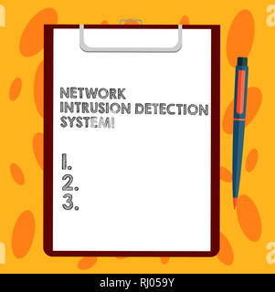 Writing note showing Network Intrusion Detection System. Business photo showcasing Safety security multimedia systems Sheet of Bond Paper on Clipboard - Stock Photo