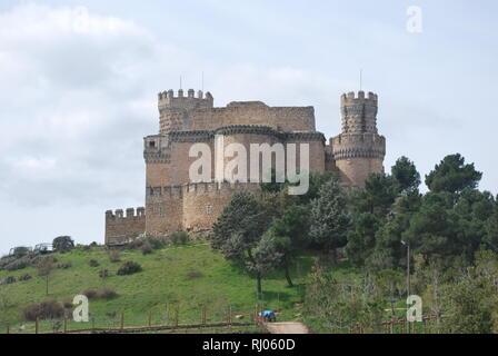 Castle of Manzanares el Real in central Spain - Stock Photo