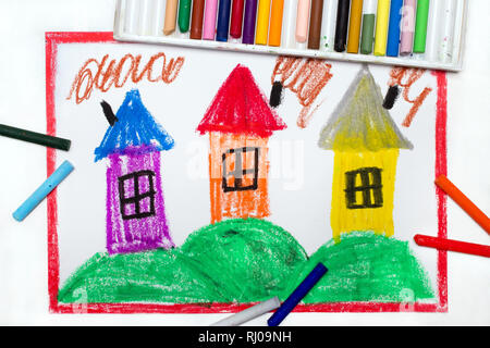 Colorful drawing: village with small houses on hills - Stock Photo