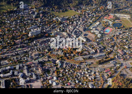 Aerial cityscape view of Chamonix, Chamonix-Mont-Blanc, Haute-Savoie, France, Europe. The popular French tourist destination in autumn. - Stock Photo