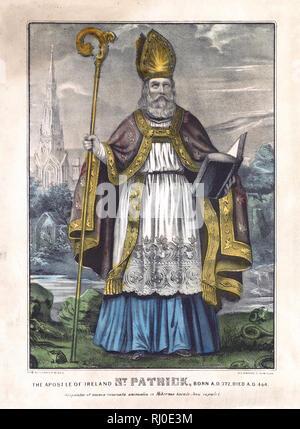 The Apostle of Ireland St. Patrick: born A.D. 372, died A.D. 464. Serpentes et omnia venenata animalia ex Hibernia baculo Jesu expulit ca. 1857-1872 - Stock Photo