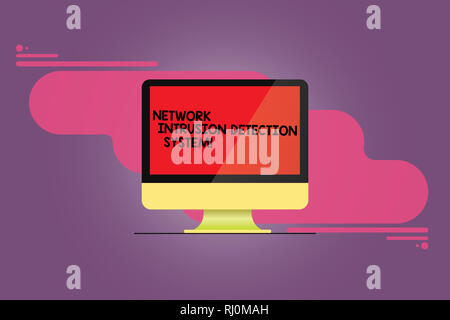Word writing text Network Intrusion Detection System. Business concept for Safety security multimedia systems Mounted Computer Monitor Blank Reflected - Stock Photo