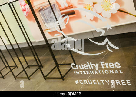 Valencia, Spain - February 2, 2019: Cruelty Free logo on the escaparete of a fashion clothing store. - Stock Photo