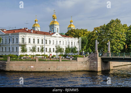St. Nicholas Naval Cathedral or St Nicholas Maritime Cathedral, a major Baroque Orthodox cathedral in the western part of Central Saint Petersburg - Stock Photo