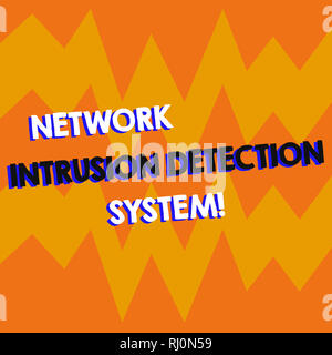 Writing note showing Network Intrusion Detection System. Business photo showcasing Safety security multimedia systems Geometric Design Zigzag Blank Te - Stock Photo
