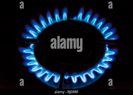 Gas burning on the stove. Blue flame of gas on a dark background - Stock Photo