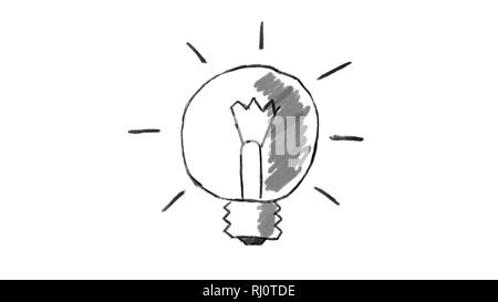 animated light bulb, chalk stroke on white background, ideal for compositing, use as a mask, ideal footage to represent the concept of idea