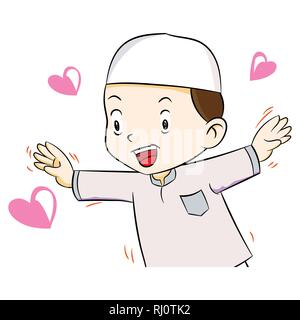 Illustration of Happy muslim boy with heart shape, isolated on white background, Vector Illustration - Stock Photo