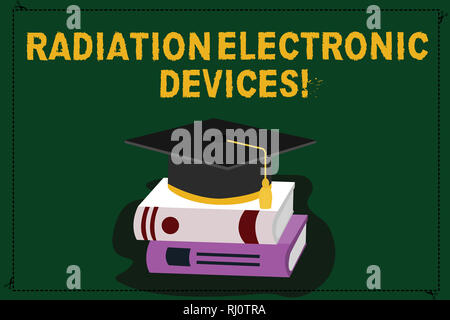 Text sign showing Radiation Electronic Devices. Conceptual photo radio frequency emitted by electronic devices Color Graduation Hat with Tassel 3D Aca - Stock Photo
