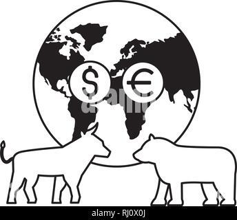 world bull bear trade coins stock market - Stock Photo