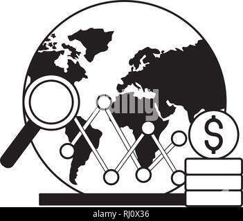 world stock market chart dollar - Stock Photo