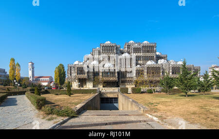 National Public Library - According to some charts, the library looks like a prison . Top sightseeing in Pristina, Kosovo - Stock Photo